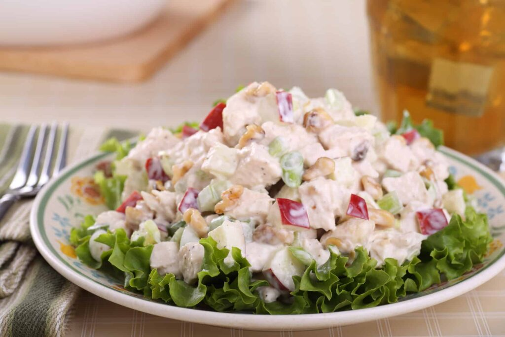 chicken salad on bed of lettuce