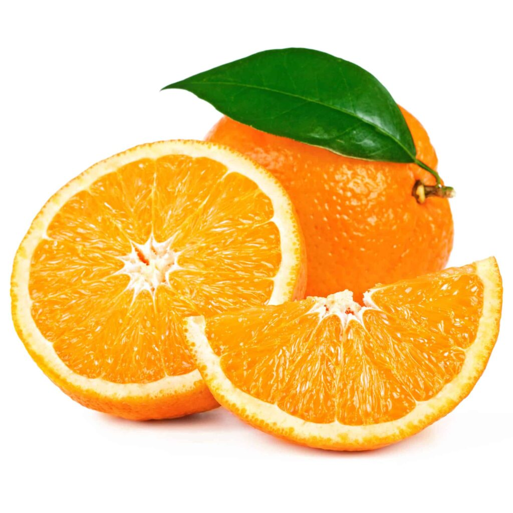 whole and sliced orange